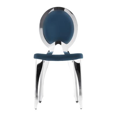 Chaise médaillon LOUIS structure métal dossier plein - lot de 4 chaises