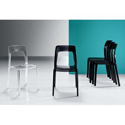 Chaise anti UV empilable VICTORIA - lot de 4 chaises pour salle d'attente ou restaurant