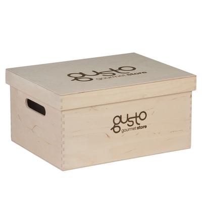 Caisse en bois publicitaire couvercle 34.8x18x18cm magasin - minimum 100 pièces