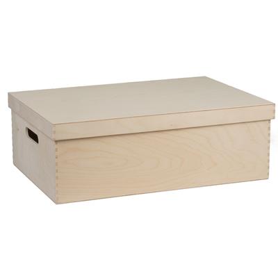 Caisse en bois publicitaire 52.4×34.8x18cm avec anses et couvercle - minimum 100 pièces