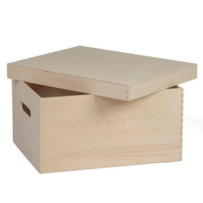 Caisse en bois publicitaire 34.8×26.6x18cm avec anses et couvercle - minimum 100 pièces