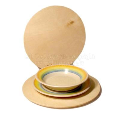 Set de table rond bois publicitaire TAPAS en bouleau - à personnaliser, 2 tailles 28 et 32cm