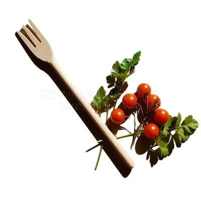 Fourchette de service publicitaire SNACK bois - à personnaliser, 30cm