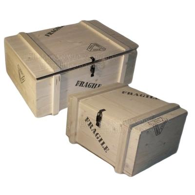 Coffret style Malle rétro FRAGILE XXL emballage spiritueux, personnalisable 2 tailles