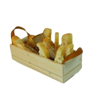 Panier BAGUETTE bois avec poignées cuir - personnalisable 3 tailles