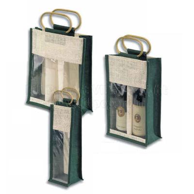 Sac en jute vert et naturel COGNAC avec fenêtre - personnalisable, 3 tailles