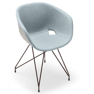 Fauteuil DIAMS tapissé avec coque gaufrée et pieds acier EIFFEL 59cm - Minimum 2 fauteuils