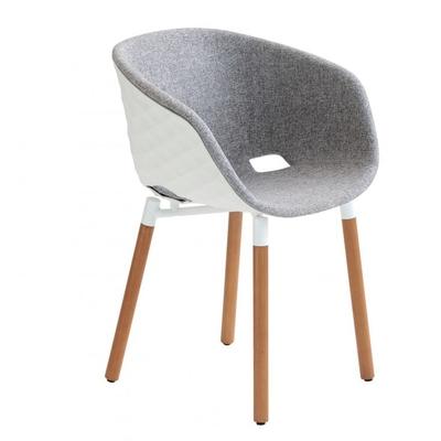 Fauteuil DIAMS tapissé avec coque gaufrée et pieds bois scandinave 59cm - Minimum 2 fauteuils