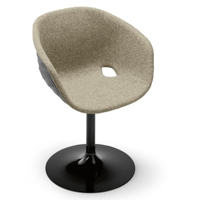 Fauteuil DIAMS tapissé avec coque gaufrée et pieds acier central 59cm - Minimum 2 fauteuils