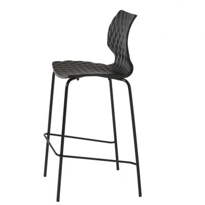 Chaise haute de bar DIAMS 76CM coque gaufrée et pieds acier - Minimum 4 chaises