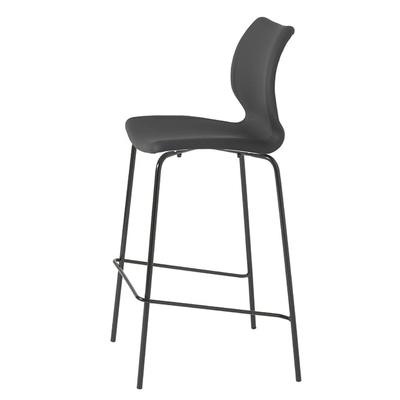 Chaise haute de bar tapissée DIAMS 77CM coque gaufrée et pieds acier - Minimum 4 chaises