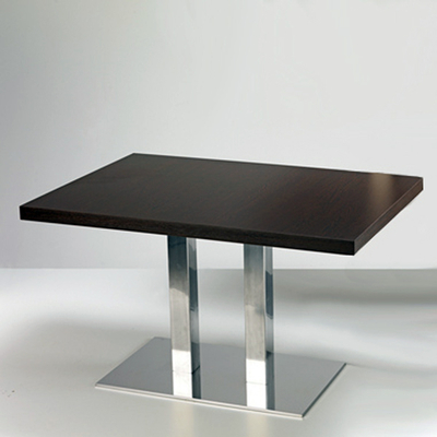 Pied table de bar rectangulaire double colonne inox COACH 71,5cm