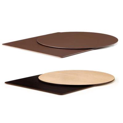 Plateau de table Stratifié 10mm avec bord noir ou marron, droit ou biseauté - lot de 2 plateaux