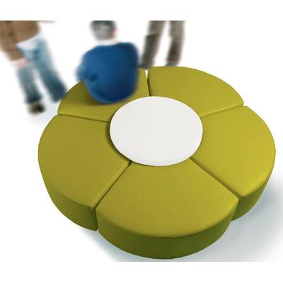 Banquette circulaire FLOR 210cm avec table basse salle d'attente ou pour hôtel
