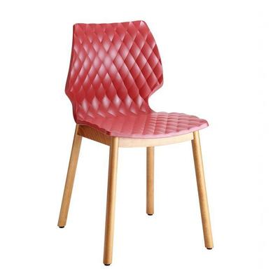 Chaise DIAMS coque gauffrée et pieds style scandinave ronds - lot de 2 chaises pour salle d'attente ou restaurant