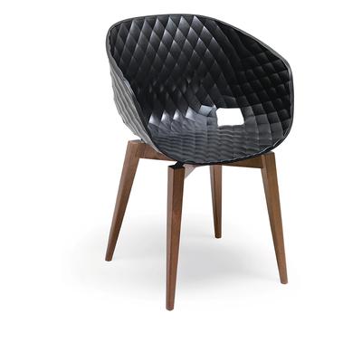 Fauteuil DIAMS coque gauffrée et pieds style scandinave carrés - lot de 2 fauteuils pour hôtel