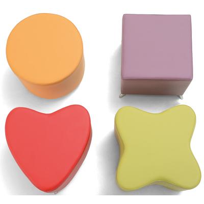 Pouf POP ART tapissé forme de Coeur, Trèfle, Carré ou Rond - minimum 10 assortis