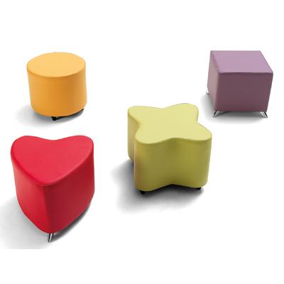 Pouf POP ART tapissé forme de Coeur, Trèfle, Carré ou Rond