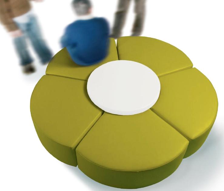 Banquette circulaire FLOR 210cm avec table basse salle d\'attente ou ...