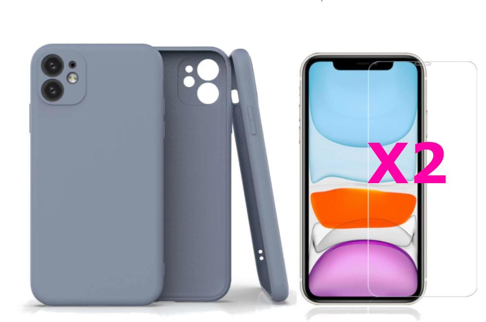 Coque Silicone Pour iPhone 11 Couleur Gris Protection Objectif Appareil Photo + 2 Verres Trempe Protection Ecran Little Boutik®