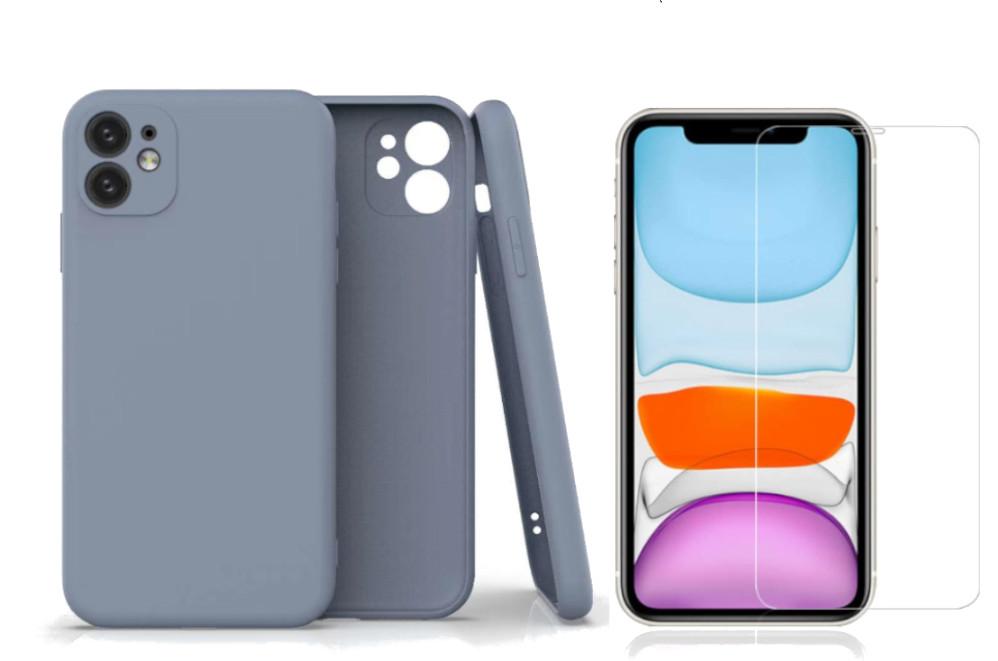Coque Silicone Pour iPhone 11 Couleur Gris Protection Objectif Appareil Photo + Verre Trempe Protection Ecran Little Boutik®