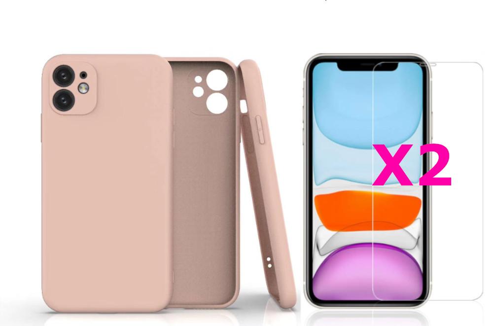 Coque Silicone Pour iPhone 11 Couleur Rose Protection Objectif Appareil Photo + 2 Verres Trempe Protection Ecran Little Boutik®