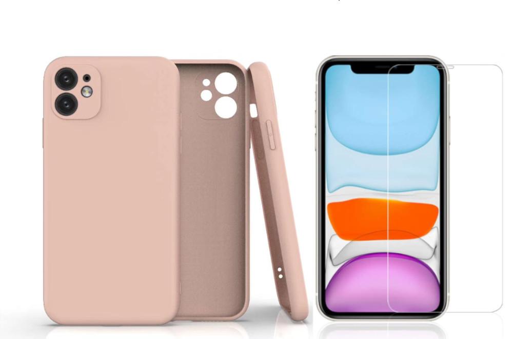 Coque Silicone Pour iPhone 11 Couleur Rose Protection Objectif Appareil Photo + Verre Trempe Protection Ecran Little Boutik®