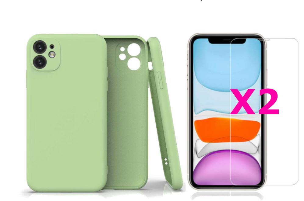 Coque Silicone Pour iPhone 11 Couleur Vert Protection Objectif Appareil Photo + 2 Verres Trempe Protection Ecran Little Boutik®