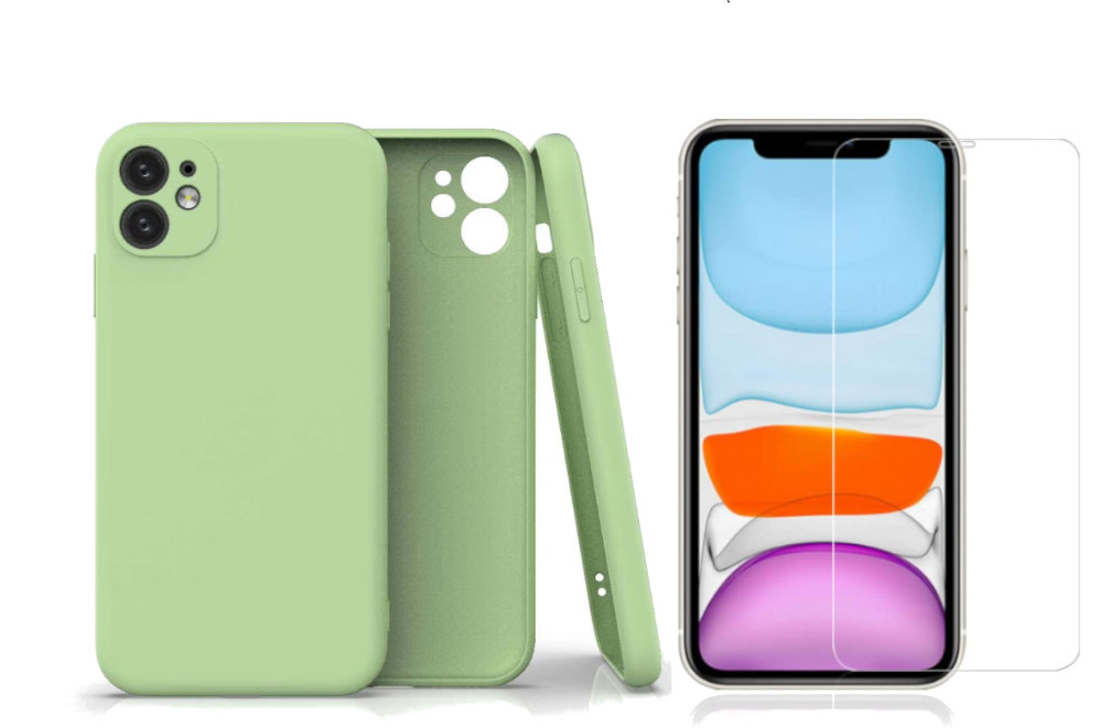 Coque Silicone Pour iPhone 11 Couleur Vert Protection Objectif Appareil Photo + Verre Trempe Protection Ecran Little Boutik®