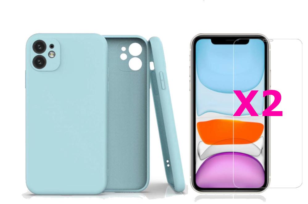 Coque Silicone Pour iPhone 11 Couleur Bleu Protection Objectif Appareil Photo + 2 Verres Trempe Protection Ecran Little Boutik®