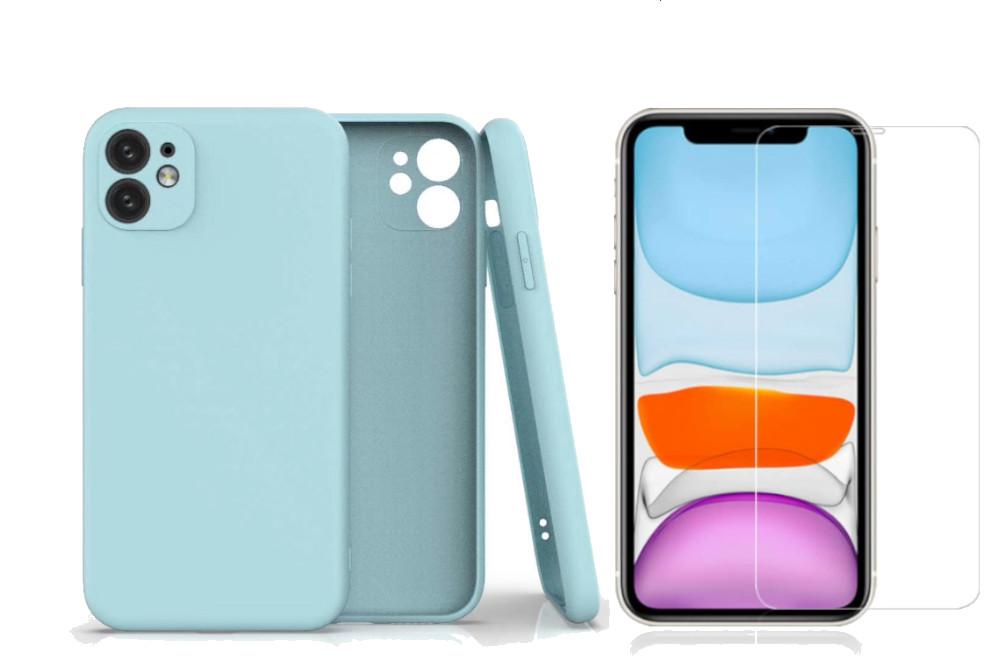Coque Silicone Pour iPhone 11 Couleur Bleu Protection Objectif Appareil Photo + Verre Trempe Protection Ecran Little Boutik®