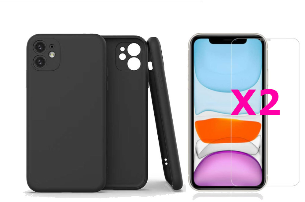 Coque Silicone Pour iPhone 11 Couleur Noir Protection Objectif Appareil Photo + 2 Verres Trempe Protection Ecran Little Boutik®