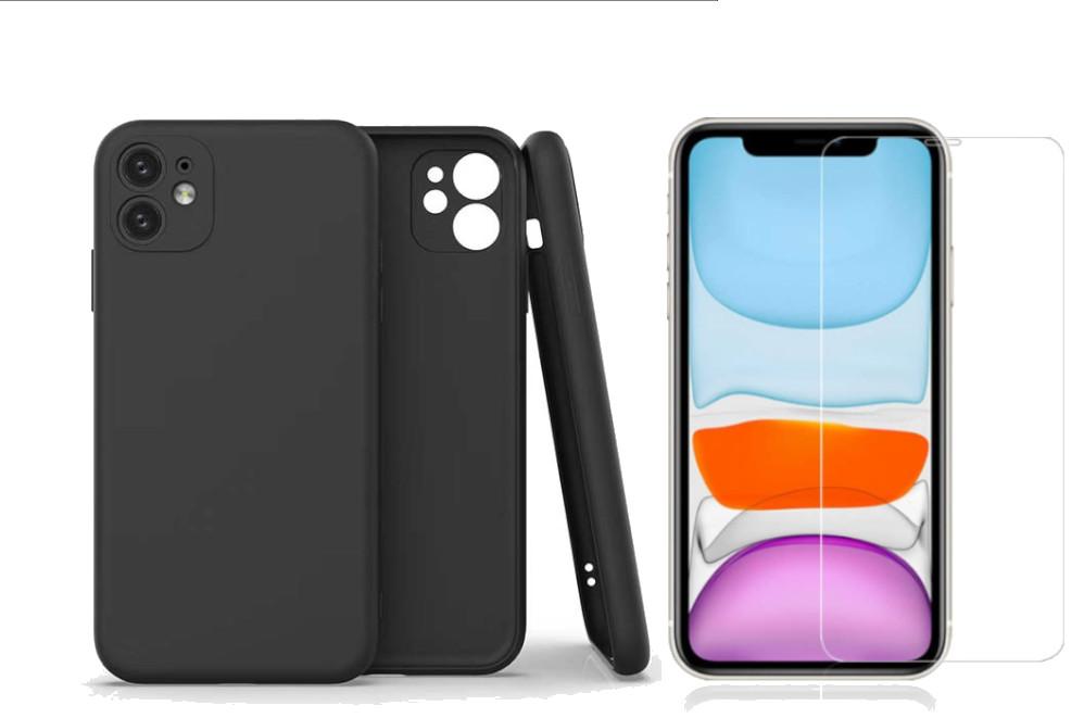 Coque Silicone Pour iPhone 11 Couleur Noir Protection Objectif Appareil Photo + Verre Trempe Protection Ecran Little Boutik®
