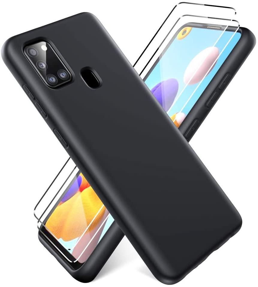 Coque Silicone Pour Samsung A21 Couleur noir + 2 Verres Trempé Protection Ecran Little Boutik®