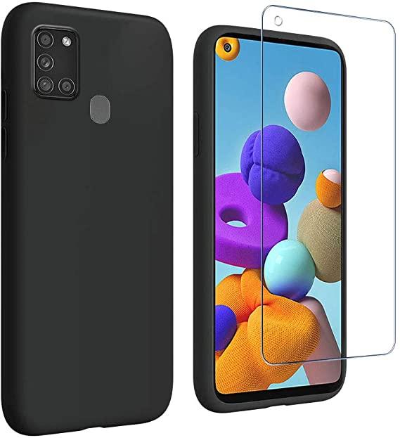 Coque Silicone Pour Samsung A21 Couleur noir + Verre Trempé Protection Ecran Little Boutik®