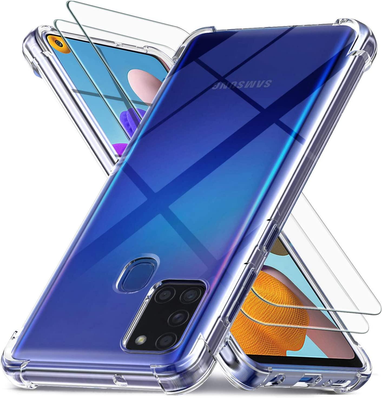 Coque Silicone Transparente Pour Samsung A21 4 Coins Renforces + 2 Verres Trempe Protection Ecran Little Boutik®