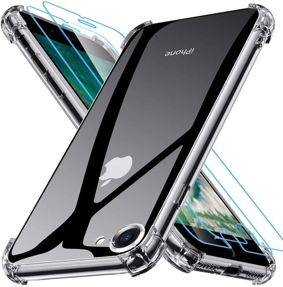 Coque Silicone Angles Renforces + Vitre Protection Ecran Pour Apple iPhone SE 2020 Little Boutik®