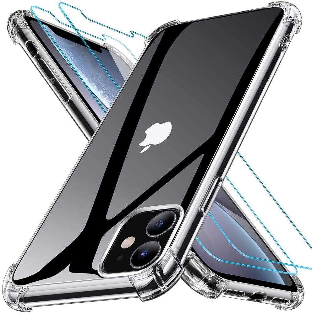 Coque Silicone Angles Renforces + 2 Vitres Protection Ecran Pour Apple iPhone 11 Little Boutik®