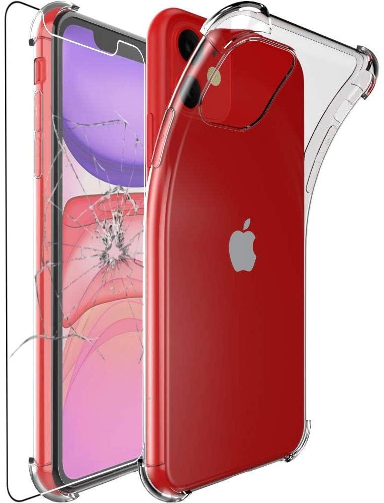 Coque Silicone Angles Renforces + Vitre Protection Ecran Pour Apple iPhone 11 Little Boutik®