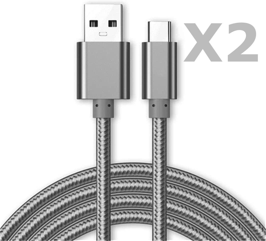 Cable Type-C Nylon Renforce Longeur 2M Couleur Argent X2 Little Boutik®