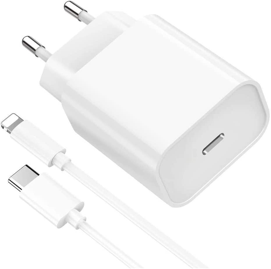 Chargeur Rapide 18W + Cable USB-C Lightning pour iPhone 12 / 12 MINI / 12 PRO / 12 PRO MAX / 11 / 11 PRO / 11 PRO MAX / X / XS / XS MAX / XR / SE 2020 / 8 / 8 PLUS Little Boutik®