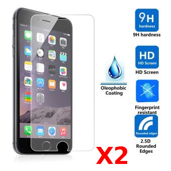 2X Verre Trempé Iphone 6/6S Vitre de Protection Clear Haute Resistance Pack X2