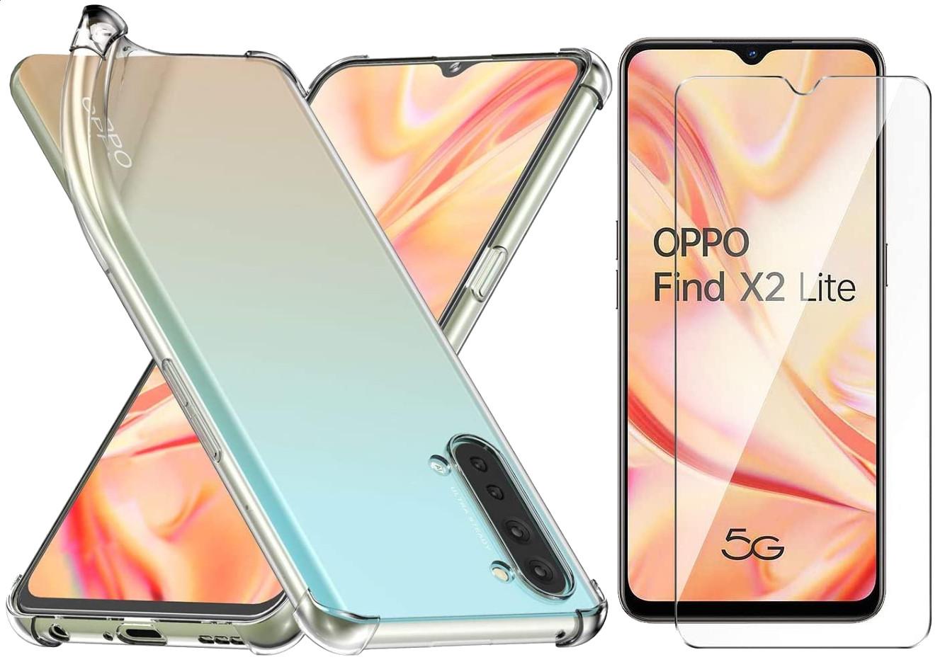 Coque Silicone TPU Transparente Angles Renforces + Verre Trempe Pour Oppo Find X2 Lite Little Boutik®