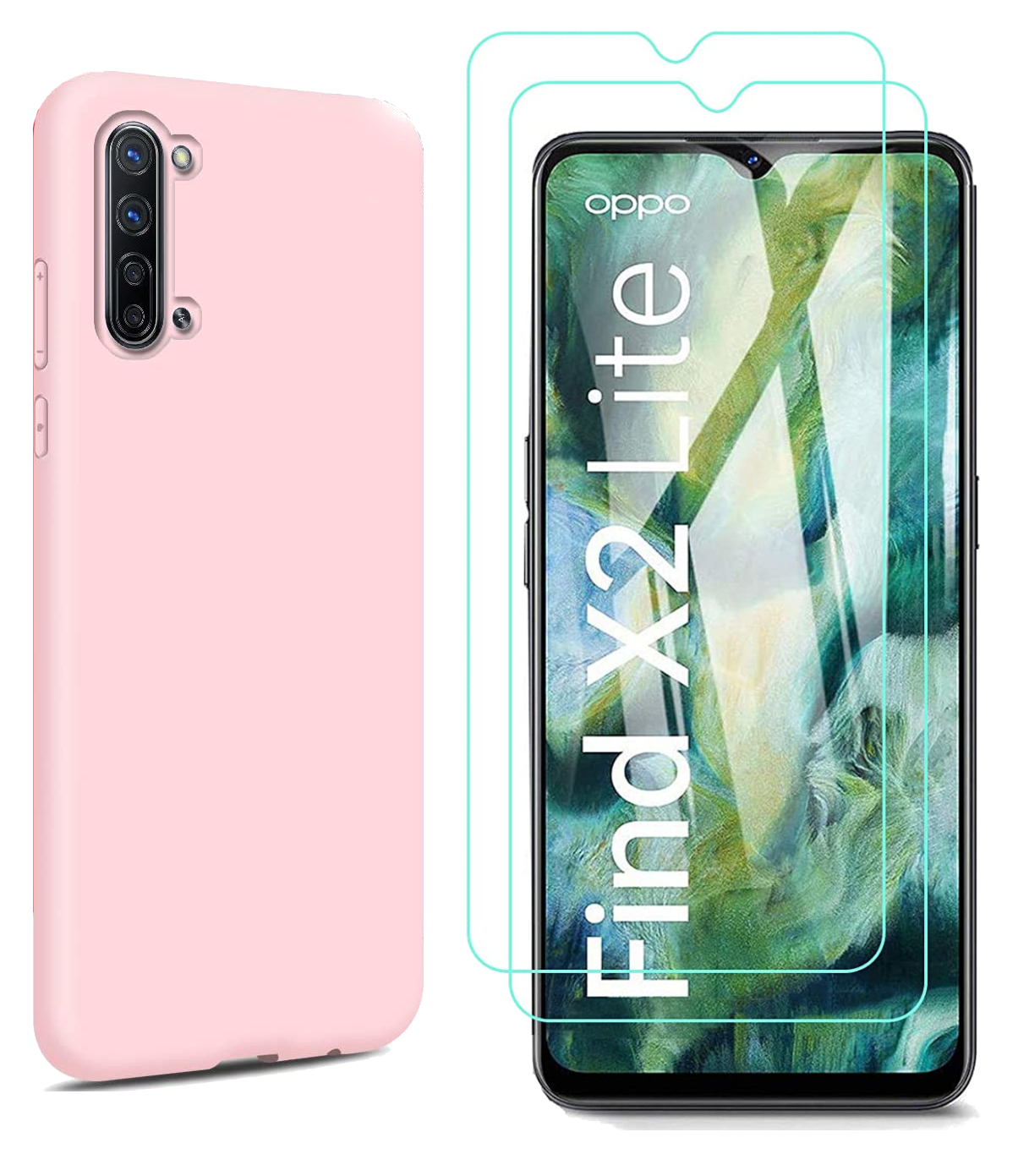 Coque Silicone TPU Couleur Rose + 2 Verres Trempes Pour Oppo Find X2 Lite Little Boutik®
