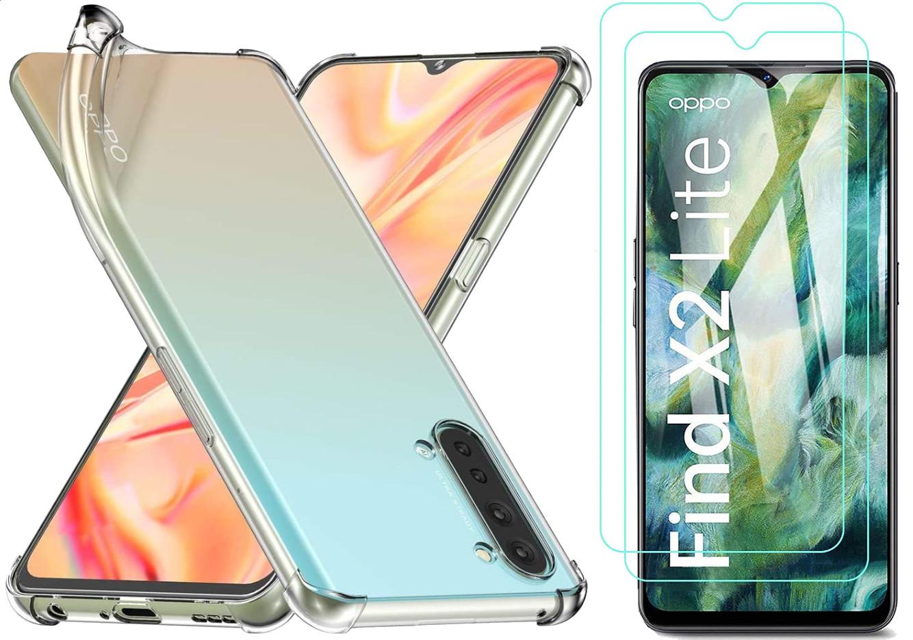Coque Silicone TPU Transparente Angles Renforces + 2 Verres Trempes Pour Oppo Find X2 Lite Little Boutik®