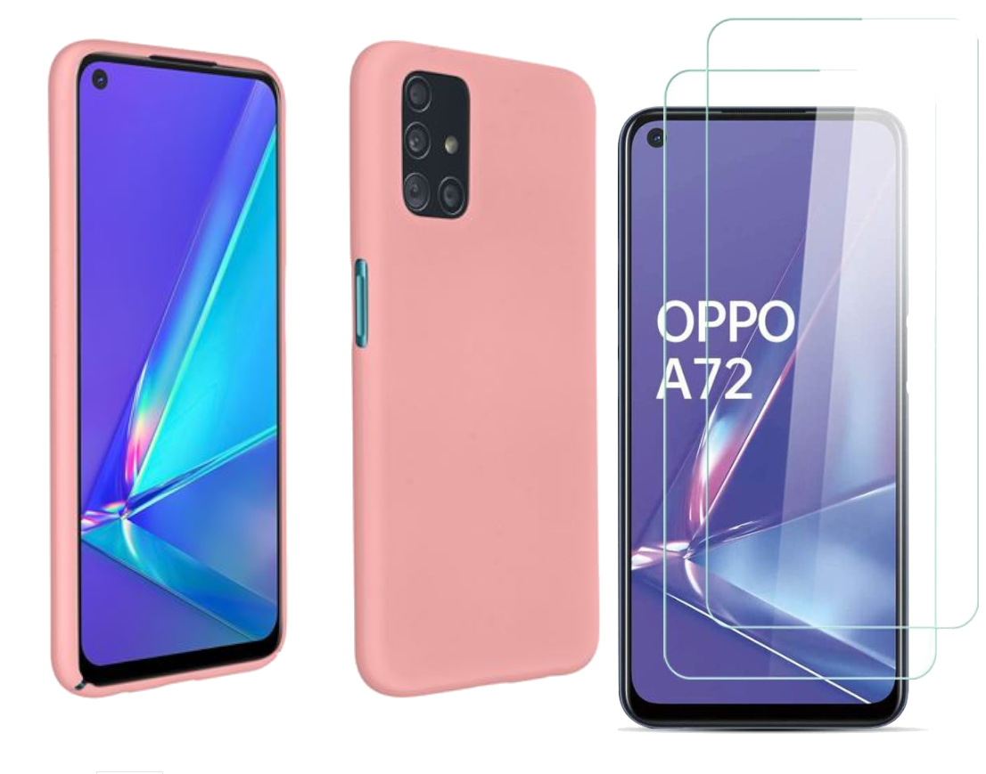 Coque Silicone TPU Couleur Rose + 2 Verres Trempes Pour Oppo A72 Little Boutik®