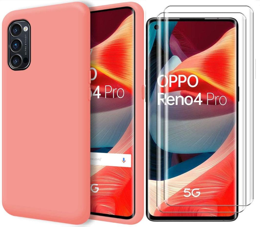 reno 4 pro -pink-tpu-case-glass-x2