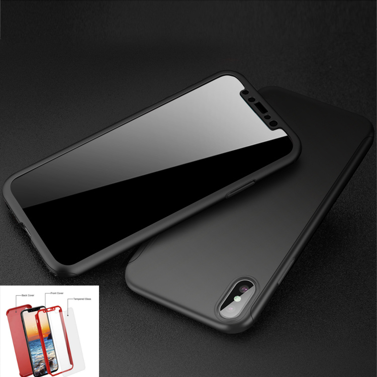 Coque 360° Full Protection pour IPhone X 10 + Verre Trempé