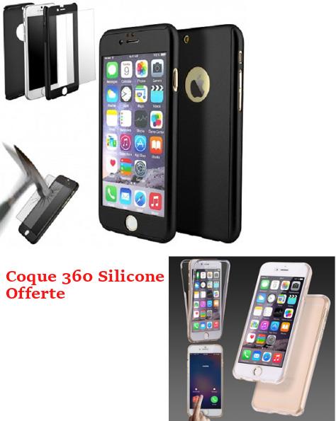 PROMO Coque Intégrale IPHONE 5/5S/SE Noir & Verre Trempé + Coque 360 Silicone Offerte