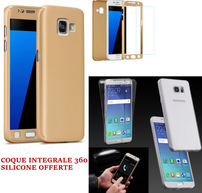 PROMO Coque Intégrale Samsung J5 2016 Or & Verre Trempé + Coque 360 Silicone Offerte
